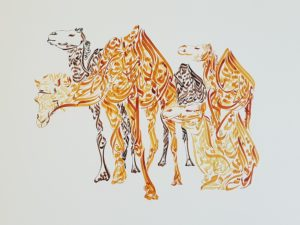 Camels - Design by Hicham Chajai with Arabic Calligraphy